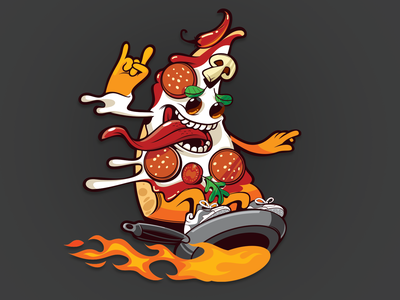 Pizza Spirit Animal character red orange fire frying pan illustration vectorart vector mascot character pizza character pizza