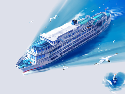 Motor ship for IT conference gull river gulls ship motor ship