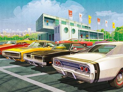 Dodge digital illustration vector graphic vector art vector garage old car classic cars retro car dodge car dodge