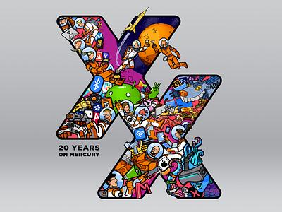 Mercury XX years vector art vector t-shirt t-shirt art
