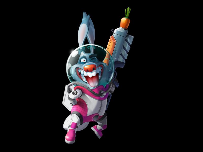 Rabbit NoWay Merconaut mascot character vectorart vector cosmonaut astronaut rabbitbadluck rabbitnoway rabbit