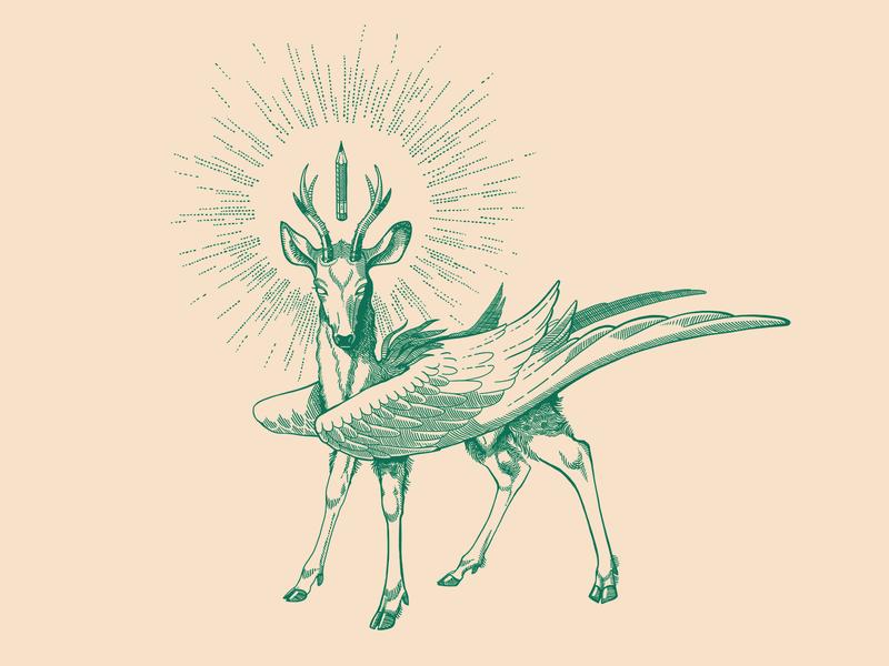 Roe Pegasus tatoo tattoo pencil roe deer design illustration pegasus goat deer roe