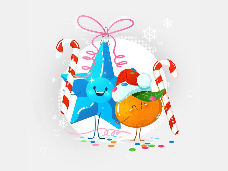 Christmas greeting card 2020 vector vector art праздник новый год мандарин фрукты персонаж caramel orange mandarine celebration new year character funny fruits fruit xmas christmas card christmas