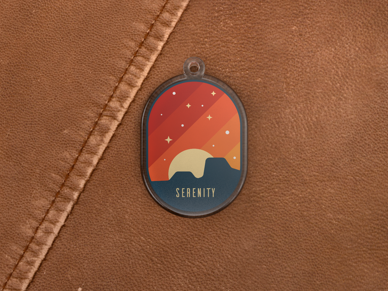 Serenity Charm pin illustration leather warm canyons render c4d keychain stickermule charm serenity