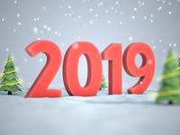 Winter 2019 christmas youtube animation 3d render cinema 4d c4d tutorial new year 2019 snow winter