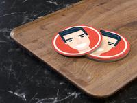 Flat face Coasters print illustration face flat 2d 3d render stickermule coaster