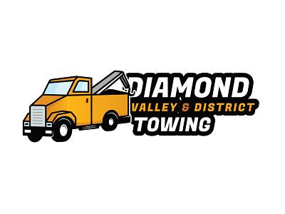 Logo Concept for a Towing Company vector illustrator logochallenge dailylogochallenge logodesign yellow truck town cartoon