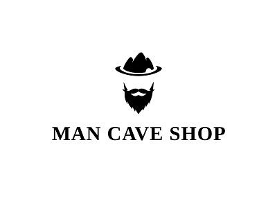 Logo Concept for a Men's products Shop beard moustache saloon design simple illustrator illustration typography logochallenge minimal dailylogochallenge logo shop cave man