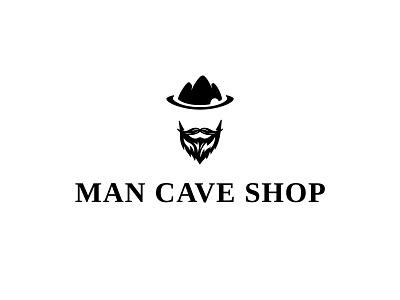Logo Concept for Men's product Shop simple minimal serif blackandwhite hill mountain cap dailylogochallenge moustache beard logo design cave shop man