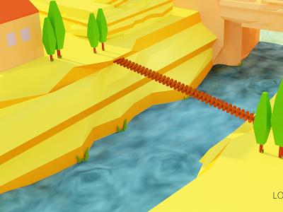 Low poly game 3D model blender3dart blender 3dmodels 3d art low poly bridge tree lowpoly 3d animation 3dmodel