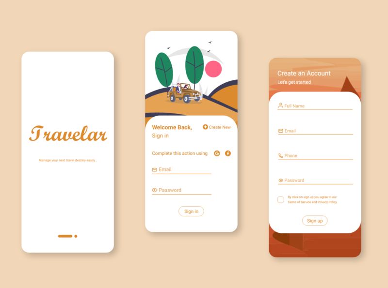 Travel app sign up/login ui ui sign up screen login screen app design travel app