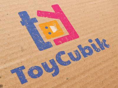 ToyCubik Logo cube square blue pink logo toy toy vector logotype type logo