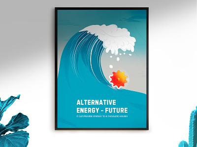Eco poster poster a day poster design poster alternative energy nature art design alternative movie poster energy wave blue eco poster ecology poster art poster vector
