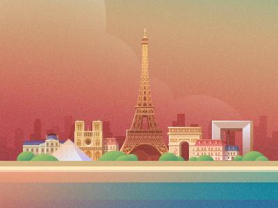 Paris paris france city architecture building illustration eiffel tower defence pyramid gate