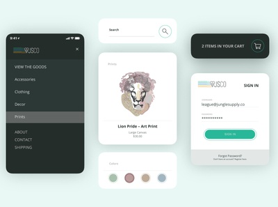 App UI Ecommerce color palette visual design mockup app design ui design interface graphicdesign color