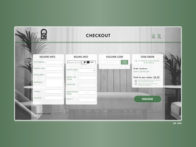 Screenly dailyuichallenge dailyui 002 dailyui greyscale green payment form checkout form checkout page logo branding ui website adobe xd adobe