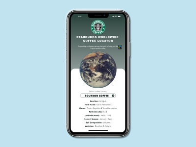 Starbucks Coffee Origin Locator - #dailyui020 location tracker locator coffee redesign starbucks dailyui020 ux adobe adobe xd dailyuichallenge ui dailyui