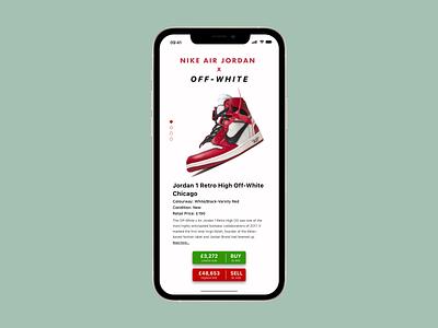 Nike Air Jordans Info Card - #dailyui045 trading selling buying offwhite jordans nike info card design dailyui045 dailyuichallenge dailyui ui