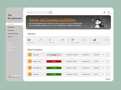 Invoice Dashboard - #dailyui046 businesses receipt invoice dashboard design ux adobe adobe xd dailyuichallenge dailyui ui
