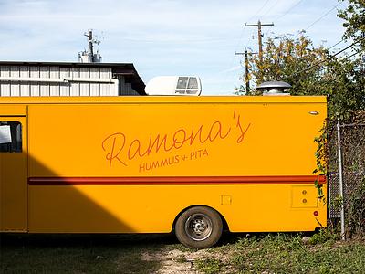 Ramona's Truck texas austin pita hummus food truck handpainted sign painting