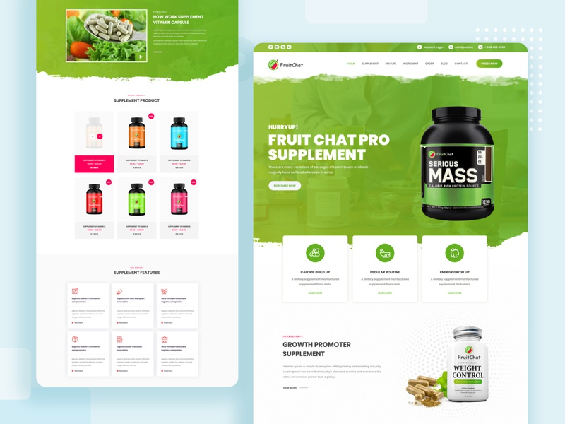 Supplement One Page  PSD psd ecommerce supplement graphic design logo app website illustration web typography ux ui design