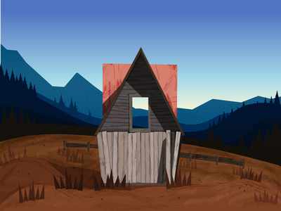 Autumn landscape with field, small house and mountains. horizon house texture ai mountain sky landscape vector design illustration