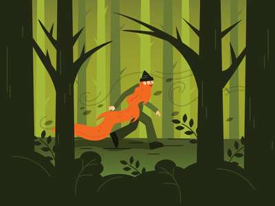 Man in forest red beard forest man ai vector illustration