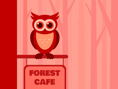 Owl in Forest Cafe cafe forest red cute owl vector illustration