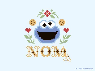 Nom heart flower blue cookie sesame street cookie monster cross stitch
