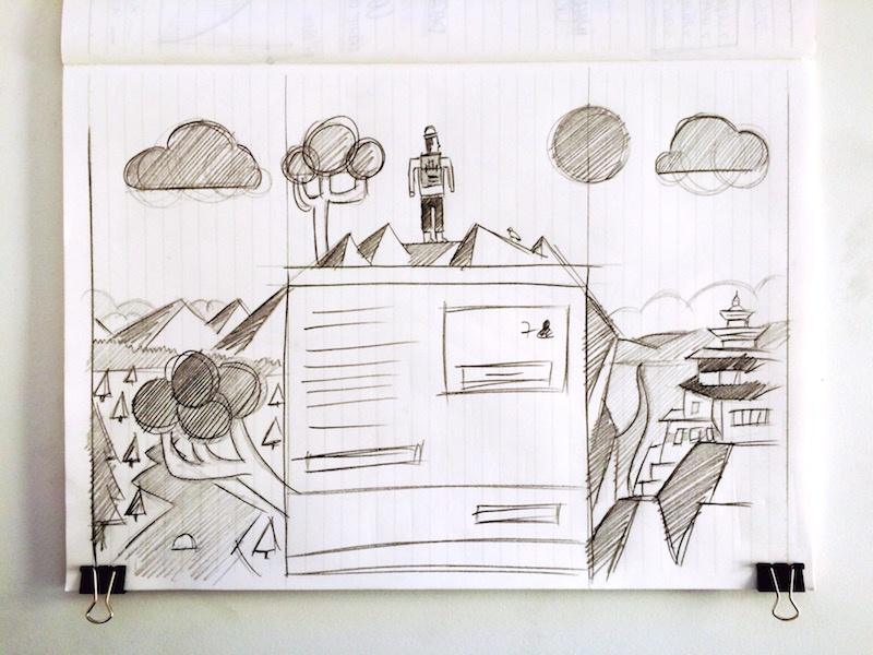 backpacker in Buthan  backpacker backpack button mountain sketch tree book