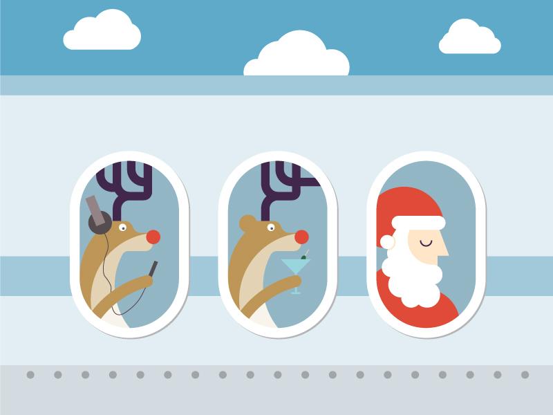 Christmas greetings christmas reindeer santa claus sandaclaus airplane relax holiday