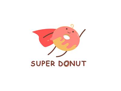 Super Donut Logo advertising characterdesign mark icon dessert animation creative painting drawing vectorart adobe illustrator adobe art design superman donut branding logo 2d cute