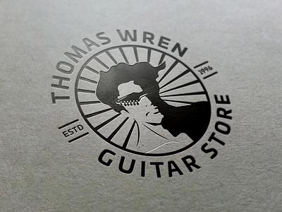 Thomas Wren Guitar Store LOGO lineart advertising blackandwhite digital art artwork graphic design sketch sunglasses music cool creative art drawing potrait illustration vector adobe illustrator branding 2d logo