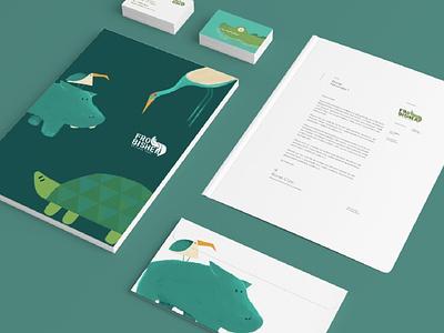 Frobisher Wetland Park Stationery vectorart adobe illustrator adobe photoshop 2d art 3d mockup nature zoo hippo turtle crocodile bird digital art cute painting advertising mark logo branding