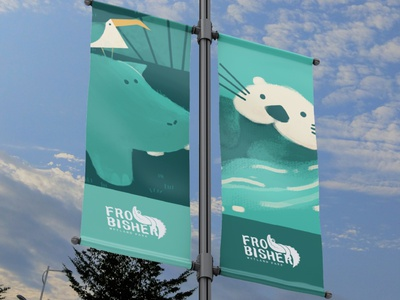 Frobisher Wetland Park Street Flag lovely drawing character design vector art adobe photoshop digital art water painting 3d mockup otter hippo cute nature zoo advertising branding stationery logo