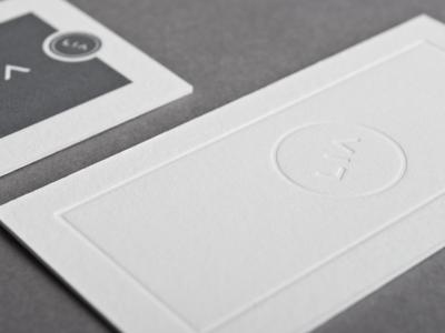 blind deboss detail  letterpress business card pms 425 220lb lettra