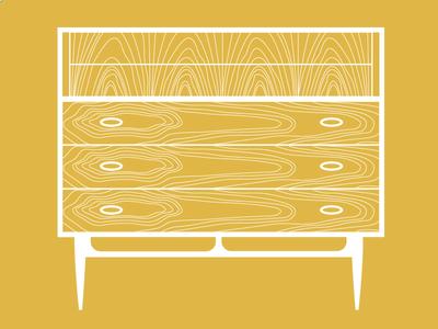Objects of Design N°1 mid century swedish dixie highboy furniture line work illustration