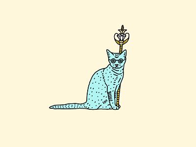Quarantine Art Club - Day 2 royalty meow quarantine fantasy illustrator draw scepter kitten glasses king gold cat