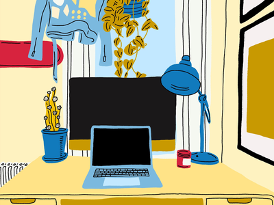 VIEWS room apartment home setting view perspective window table candle plants cactus lamp coat jacket skateboard macbook plant office work desk