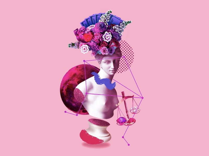LADY LIBRA ♎️ illustration collage space planet planets moon flowers rose constellation stars astrology october venus zodiac horoscope libra