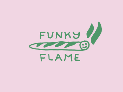 Funky Flame funky lettering typography logotype illustration weed logo branding bakery cigarette weed smoke eat grocery food baguette bread fire flame