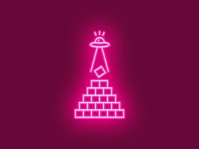 UFO vector illustrator pink light neon light neon alien ufo