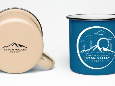 Teton Valley I saw the eclipse mockup mountains resorts cabins outdoor swag mug logo idaho teton