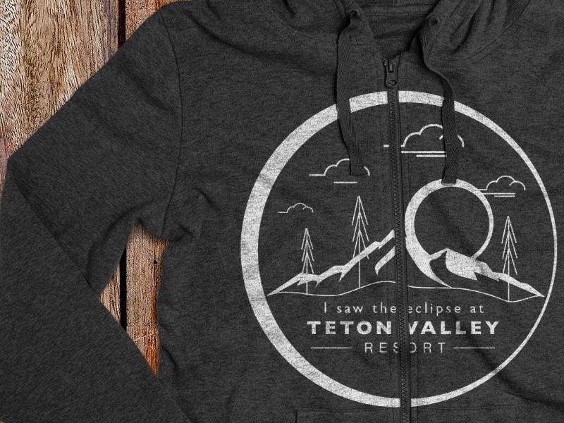 Teton Valley I saw the eclipse Hoodie teton swag resorts outdoor mug mountains mockup logo idaho cabins