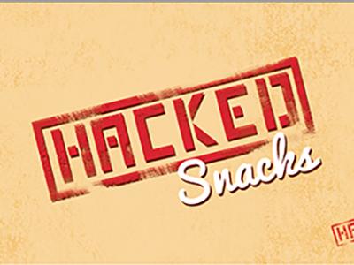 Hacked Snacks (Vintage Concept) design custom logo design red stamp snacks hacked stamped logo food logo vintage