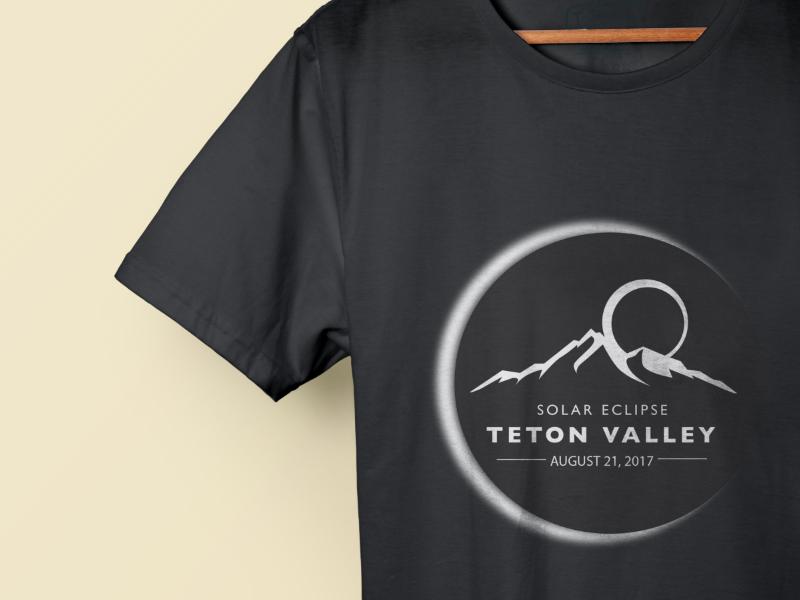 Final Eclipse Logo clean logo simple design sun moon mountains teton valley solar eclipse logo t-shirt design