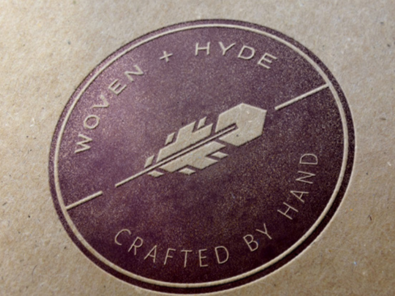 Woven + Hyde Logo bohemian emblem geometric leather mark feather logo letter press