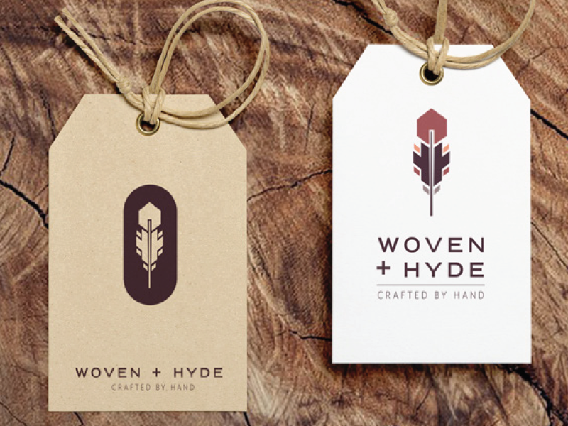 Woven + Hyde Logo Tag Mockup geometric woven modern bohemian original stacked type purple feather handmade leather bags tags