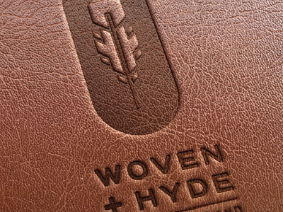 Woven + Hyde Logo Leather clean simple bohemian feather graphic design logo design hide woven leather
