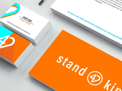 Stand 4 Kind Collateral anti-bullying envelope heart logo 4 logo blue orange graphic design logo design business cards